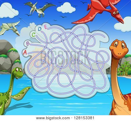 Game template with dinosaurs in the lake illustration