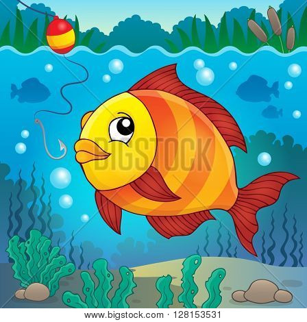 Freshwater fish topic image 4 - eps10 vector illustration.