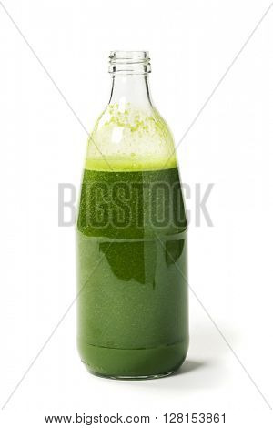 Healthy green smoothie  on white