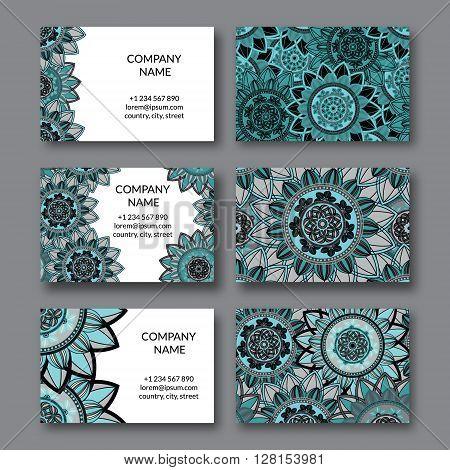 Vintage business cards set. Ornamental mandala floral circle decorative elements. Arabic indian turkish pakistan ottoman motifs. Business card vector design template.