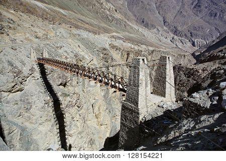 Suspension bridge in Himalayas, Ladakh, Jammu & Kashmir, India,