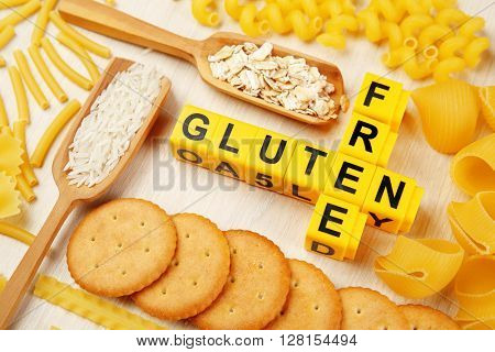 Gluten Free products on wooden table