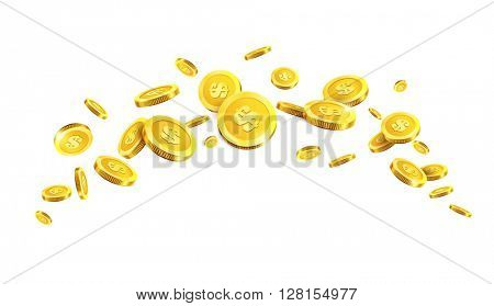Vector Illustration of flying golden coins.