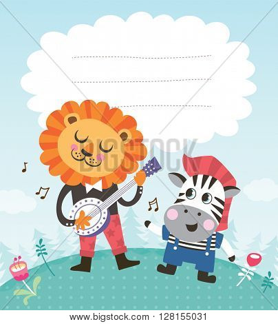 Greeting card template with a cute little zebra and lion