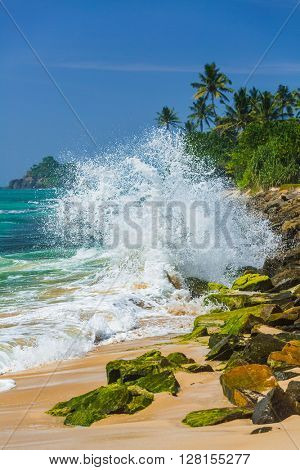A big breaker wave with a lot of splash on the tropical stone beach