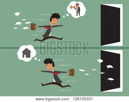 business man work up late with Business man go home after work business concept vector illustration.
