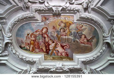 BENEDIKTBEUERN, GERMANY - OCTOBER 19: beautiful religious fresco in Benediktbeuern, Germany on October 19, 2014.