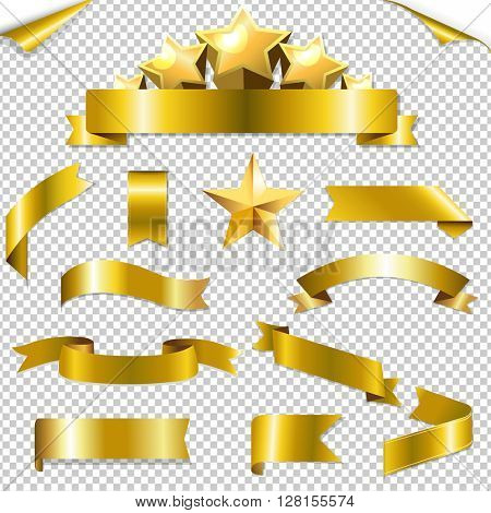Set Golden Ribbons And Stars, With Gradient Mesh, Vector Illustration