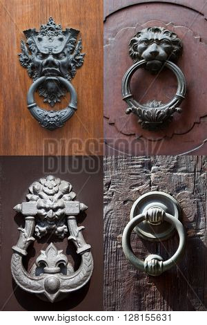 collection of antique door knockers