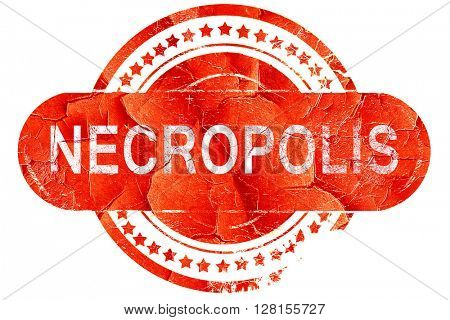 necropolis, vintage old stamp with rough lines and edges