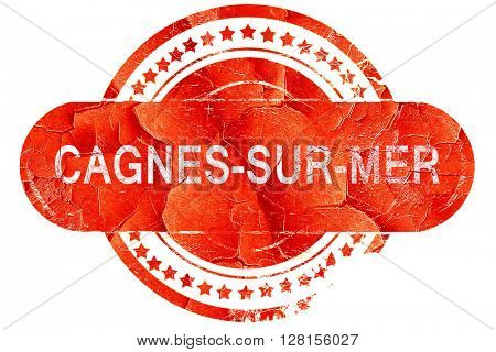 cagnes-sur-mer, vintage old stamp with rough lines and edges