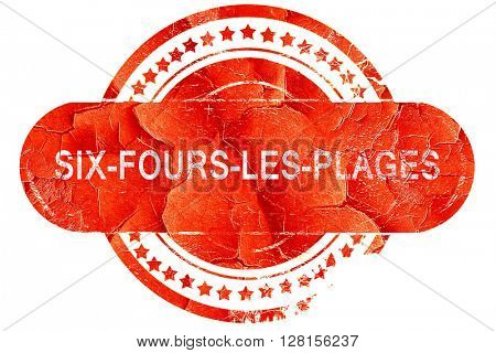 six-fours-les-plages, vintage old stamp with rough lines and edg