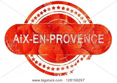 aix-en-provence, vintage old stamp with rough lines and edges