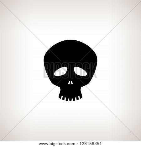 Funny Skull, Silhouette Skull on a Light  Background , Isolated,  Death's-head, Black and White Vector Illustration