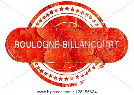 boulogne-billancourt, vintage old stamp with rough lines and edg