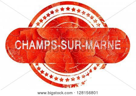 champs-sur-marne, vintage old stamp with rough lines and edges