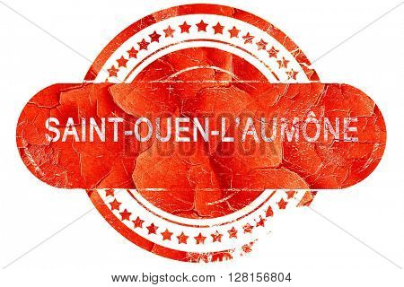 saint-ouen-l'aumone, vintage old stamp with rough lines and edge