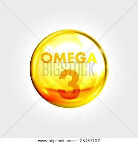 Omega 3 gold icon. Vitamin drop pill capsule. Shining golden essence droplet. Beauty treatment nutrition skin care design. Vector illustration.