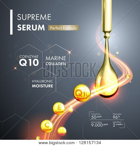 Coenzyme Q10 serum essence gold drops with dropper. Skin care collagen hyaluronic moisture formula treatment design. Anti age DNA helix protection solution.