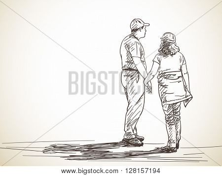 Sketch of loving couple standing and holding hands, Hand drawn illustration