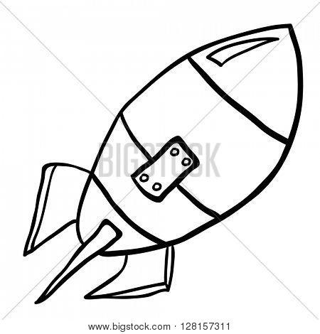 black and white rocket cartoon illustration