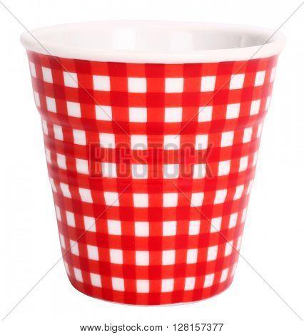 Red white plaid ceramic cup