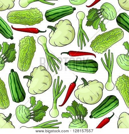 Bright spring vegetables seamless pattern with green onions, striped zucchini, chinese cabbages, red chilli peppers, kohlrabi and pattypan squashes over white background.