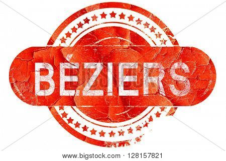 beziers, vintage old stamp with rough lines and edges