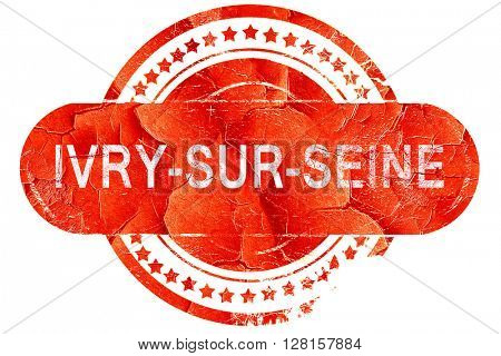 ivry-sur-seine, vintage old stamp with rough lines and edges