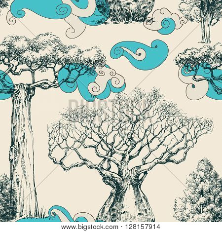Woods seamless pattern, nature print