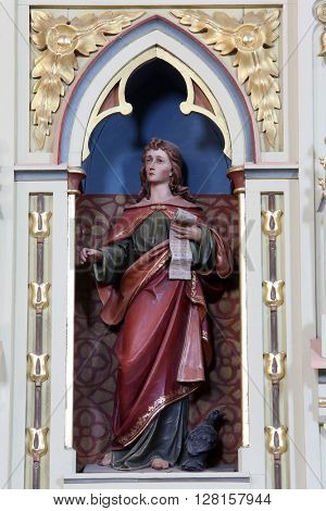 STITAR, CROATIA - AUGUST 27: St. John the Evangelist on the pulpit in the church of Saint Matthew in Stitar, Croatia on August 27, 2014