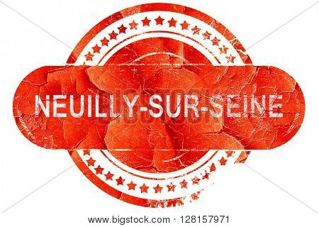 neuilly-sur-seine, vintage old stamp with rough lines and edges
