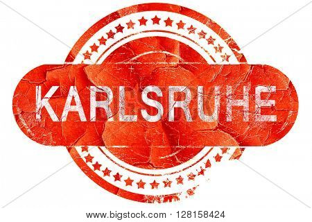 Karlsruhe, vintage old stamp with rough lines and edges