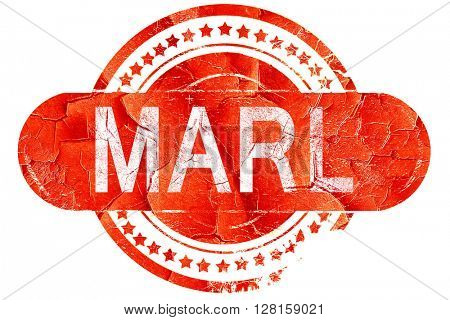 Marl, vintage old stamp with rough lines and edges