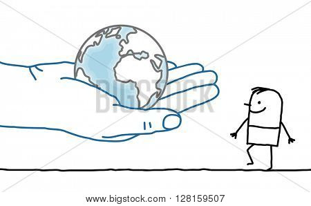 big hand and cartoon character - Earth and man