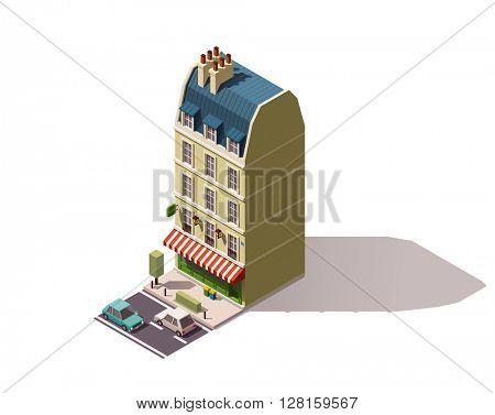 Vector isometric Paris building