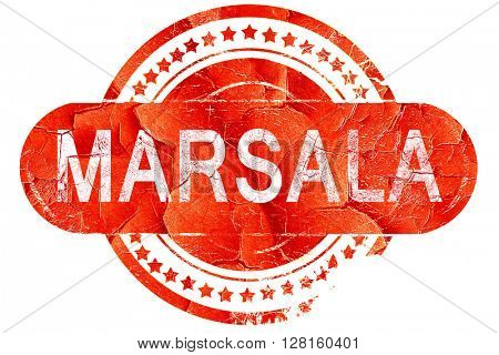 Marsala, vintage old stamp with rough lines and edges