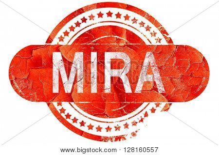 Mira, vintage old stamp with rough lines and edges