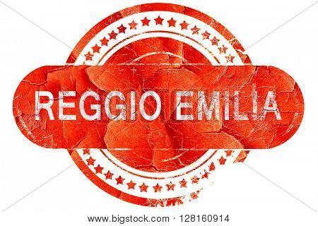 Reggio emilia, vintage old stamp with rough lines and edges