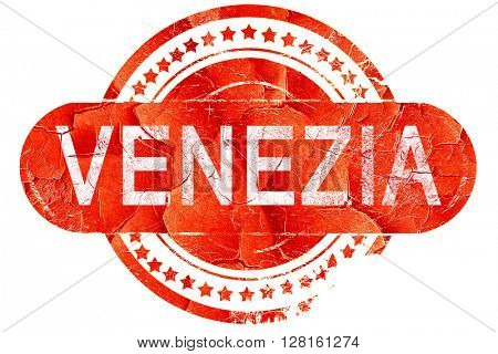 Venezia, vintage old stamp with rough lines and edges