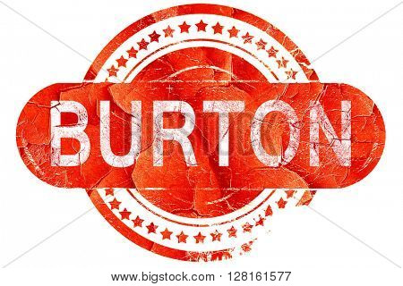 burton, vintage old stamp with rough lines and edges