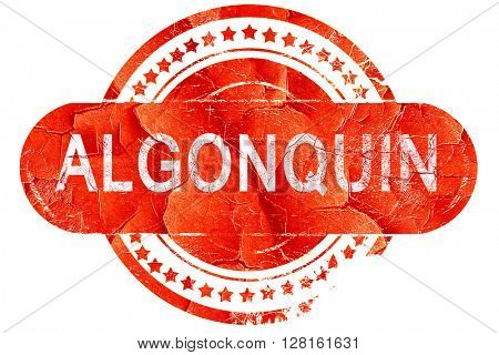 algonquin, vintage old stamp with rough lines and edges
