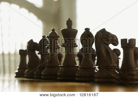 Chess pieces set up on board.