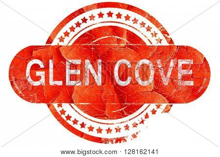 glen cove, vintage old stamp with rough lines and edges