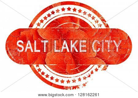 salt lake city, vintage old stamp with rough lines and edges