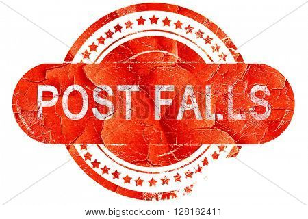 post falls, vintage old stamp with rough lines and edges