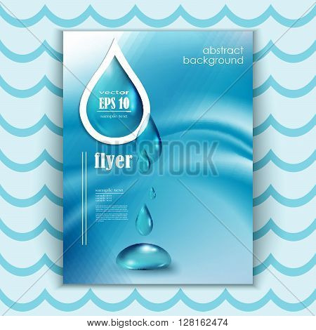 Blue shiny water drops banners set. Vector illustration. Fresh rain template for cover card design. Pure organic water.