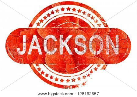 jackson, vintage old stamp with rough lines and edges