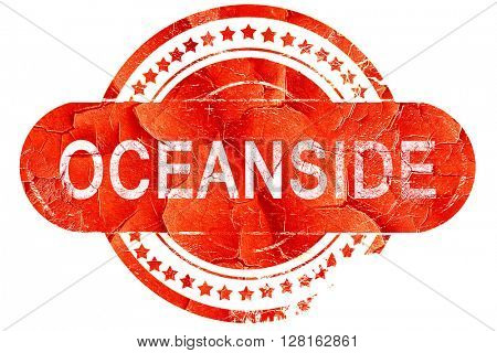 oceanside, vintage old stamp with rough lines and edges