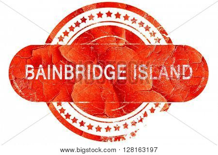 bainbridge island, vintage old stamp with rough lines and edges
